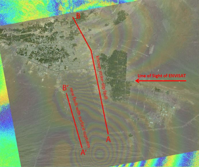 Interferogram with overlayed optical image data and indicated faults. The new fault (A'-B') occurred approximately 4km west of the known fault (A-B)