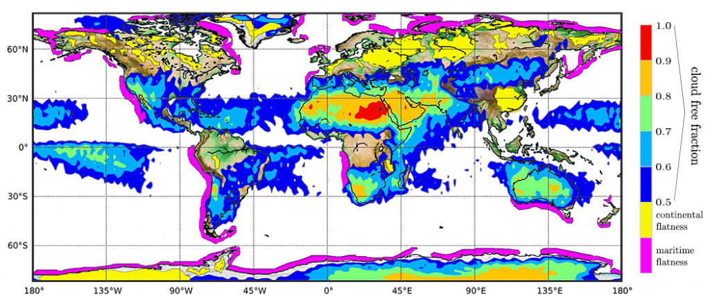 The overall estimated performance based on the cloud free fraction and the cloud flatness events. Those events are separated in continental seasonal cloud top flatness events indicated in yellow and near continental maritime events indicated in purple. The underlying global relief map for the continents is based on the Etopo world map of NOAA http://www.ngdc.noaa.gov/mgg/global/). In this map the white areas designate regions with cloud free fractions < 0:5 where space lidar measurements are less performant.