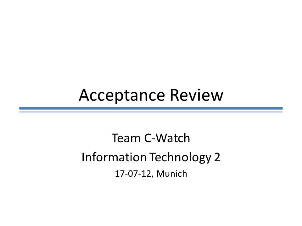 Final Acceptance Review